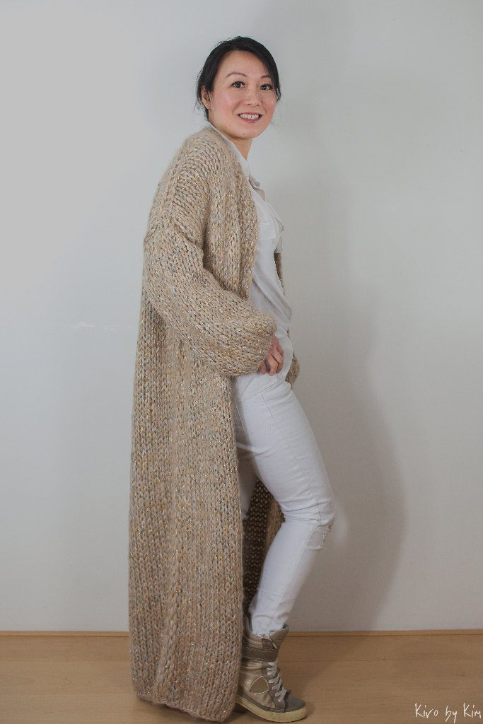 Beige and gold long knit Kiro by Kim