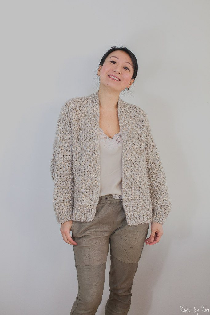 Beige and gold short knitted coat Kiro by Kim