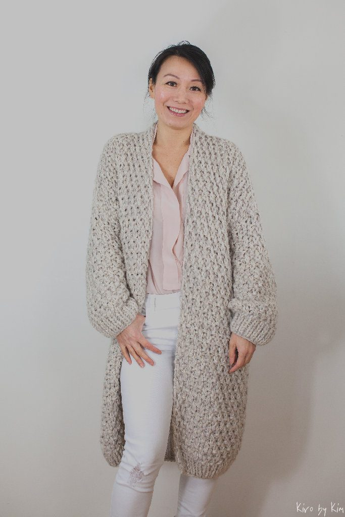 Beige and sand long knitted coat Kiro by Kim