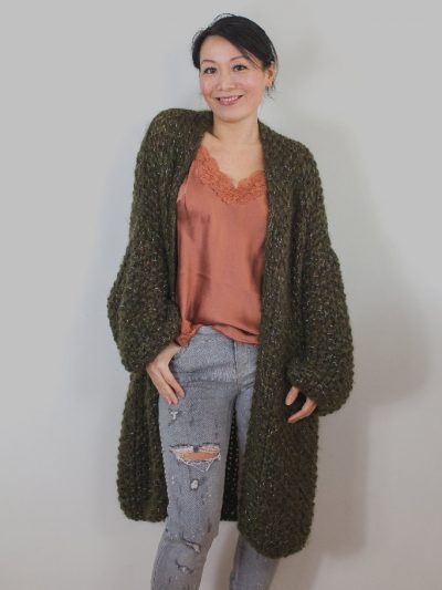 Dark khaki long knitted coat Kiro by Kim