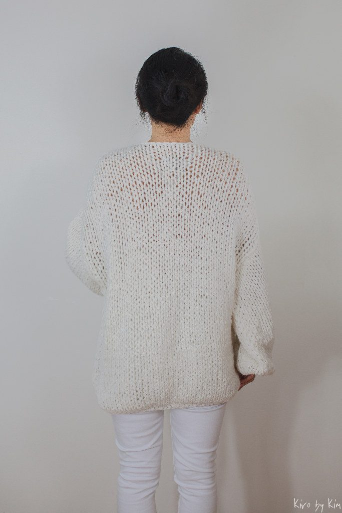 Ecru oversized knitted sweater Kiro by Kim
