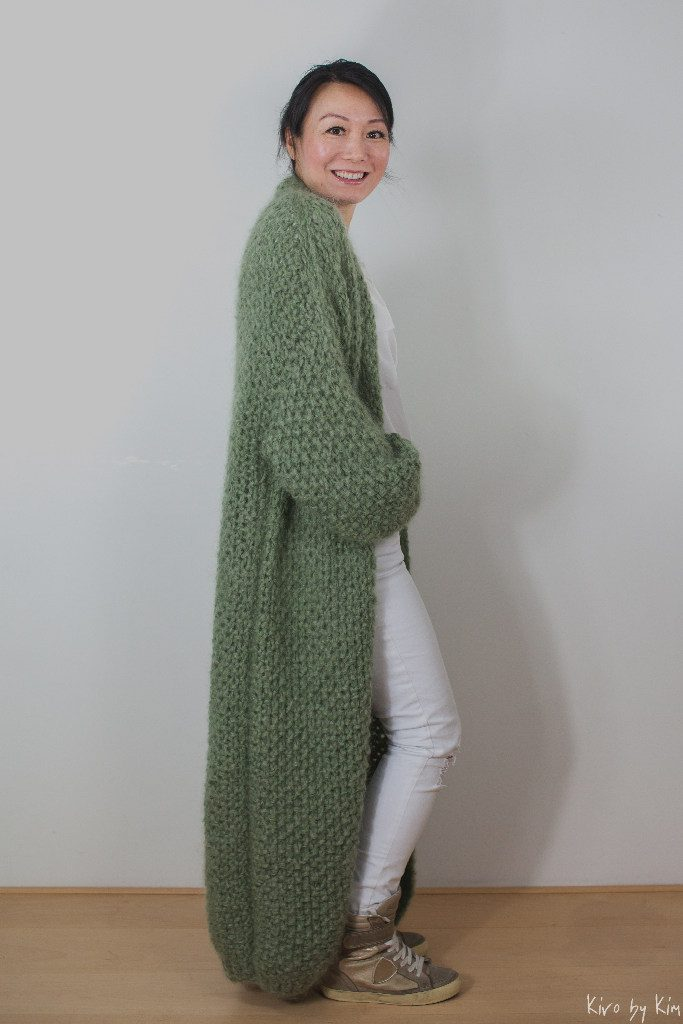 Light khaki long knitted coat Kiro by Kim