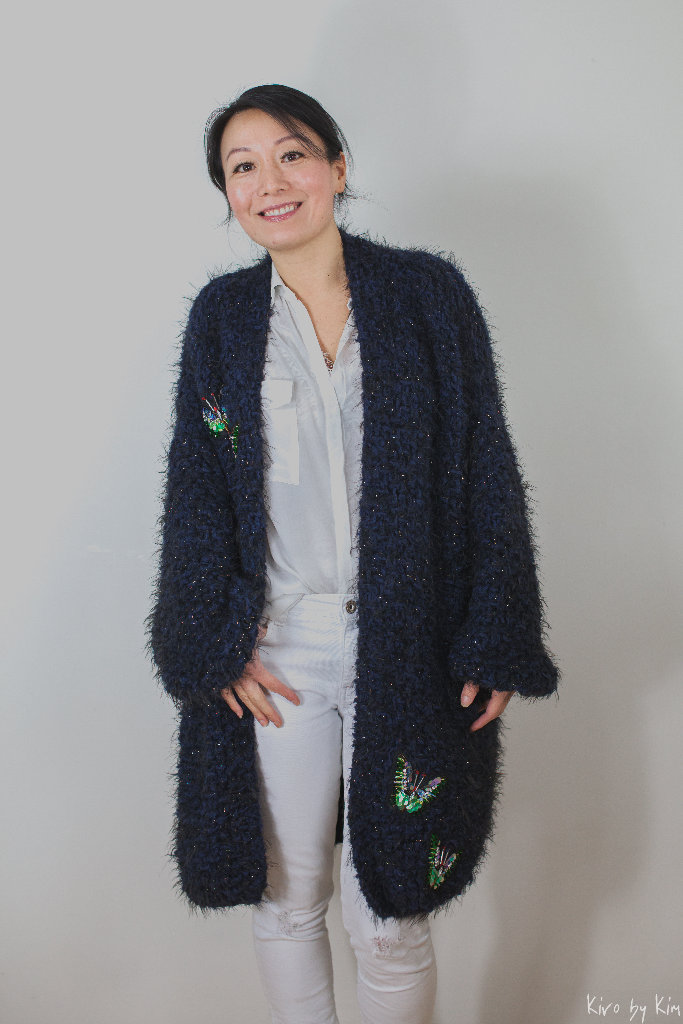 Navy and black soft long knitted coat Kiro by Kim