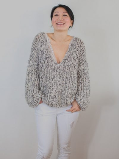 Sand and grey knitted sweater Kiro by Kim