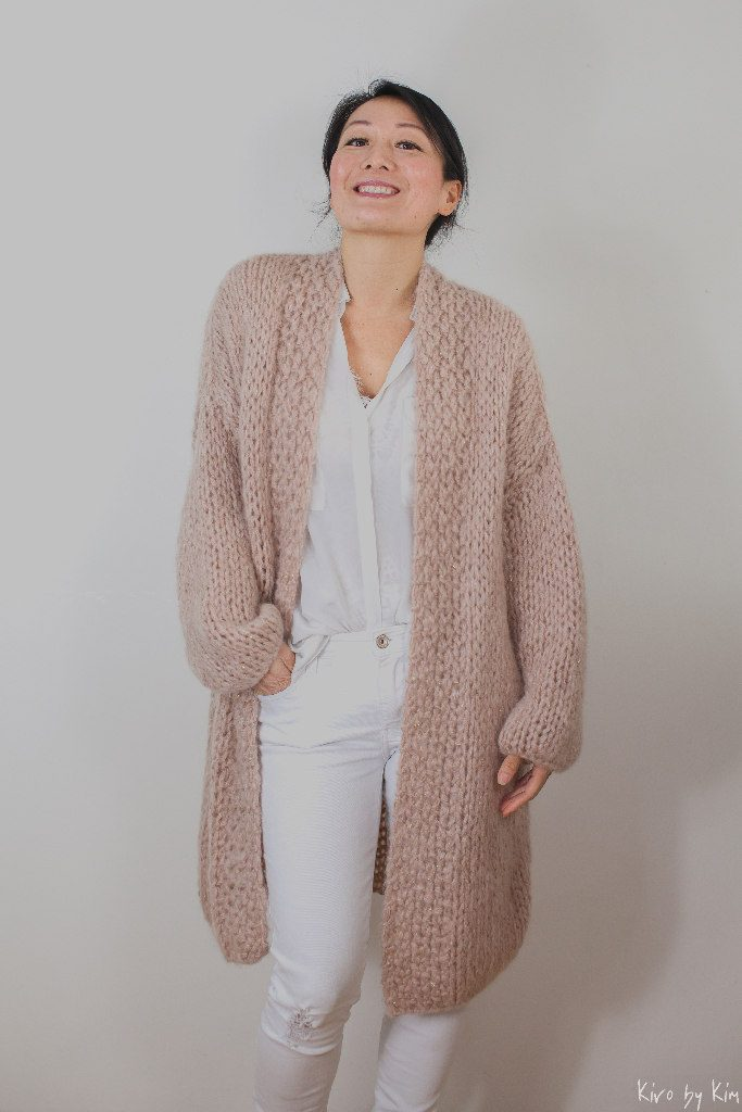 Soft pink and nude long knit Kiro by Kim